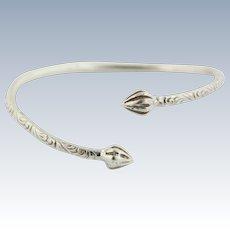 Sweet Sterling Silver Flower Design Bangle Bracelet