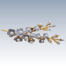 """Sweet 18kt Yellow Gold Purple and Pearl Flower 2"""" Pin"""