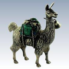 Miniature Sterling Silver 925 Alpaca Llama Figurine w/Turquoise Backpacks & Bell