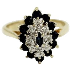 14K Yellow Gold Cluster/Cocktail Ring w/Sapphires & Diamonds-Size 6-Marked GTR