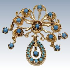 Beautiful Ornate 14k Yellow Gold Turquoise Chandelier Pin
