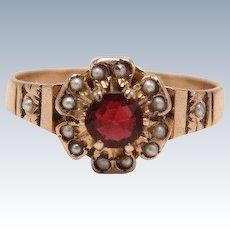 Vintage 10kt Rose Gold Garnet and Seed Pearl Flower Ring - Size 6