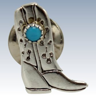 "Western Sterling Silver & Turquoise Cowboy Boot Tie Tack 5/8"" Pin"