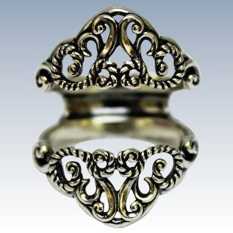 """Marked CR Scroll/Open Work Sterling Silver Insert Ring-1 1/8"""" Long-Size 8"""