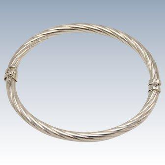 """Sweet Sterling Silver Hinged 7"""" Bangle Bracelet - Ribbed Design"""