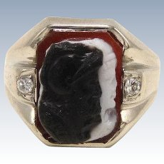 Vintage 14kt White Gold White/Black Carved Double Cameo Ring with Diamonds -9.75