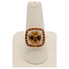 Sweet 14kt Yellow Gold Citrine and Diamond Cocktail Ring - Size 8