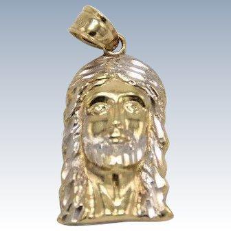 10k Two-Tone Jesus Head Pendant with Diamond Cuts