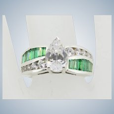 CNA Sterling Silver Pear Shaped CZ and Emerald Cluster Ring - Size 8