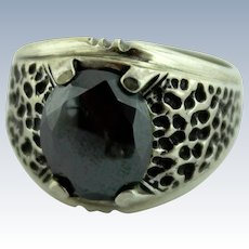 Signed Wm Wheeler Native American Sterling Silver-Black Hematite Ring-Size 8.25