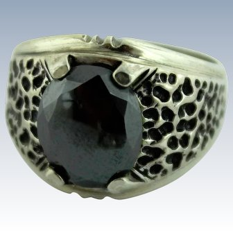 Signed Wm Wheeler Native American Sterling Silver-Black Hematite Ring-Size 8.25