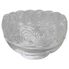Louis Comfort Tiffany & Co Collection Crystal Spiral Swirl Art Glass Bowl