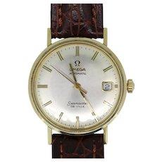 Vintage Omega Seamaster De Ville 14K/Stainless Men's Leather Band Wristwatch