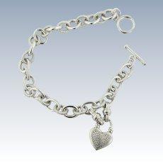 "Sweet Sterling Silver Diamond Heart Toggle Bracelet - 7.5"""