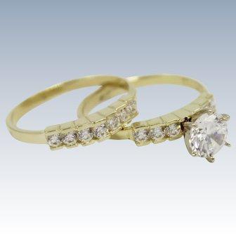 14K Yellow Gold Diamonique 1.65ctw Engagement Ring-Wedding Band Ring Set-Size 7