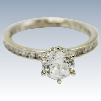 Eternal Love 14K White Gold Diamonique CZ (2.05ctw) Engagement Ring-Size 8