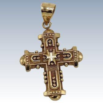10k Yellow Gold Intricate Design Cross Pendant