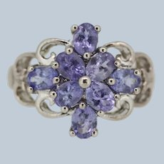 Sweet Sterling Silver Purple Stone Cluster Ring - Size 4.25