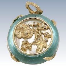 Tagliamonte 14k Yellow Gold Venetian Glass MOP Diamond Floral Design Pendant