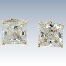 Sweet 14kt Yellow Gold 7.9mm Princess Cut CZ Stud Earrings