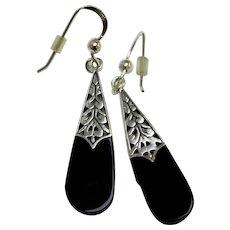 Signed PSCL Peter Stone - Sterling Silver & Black Onyx Dangle Pierced Earrings