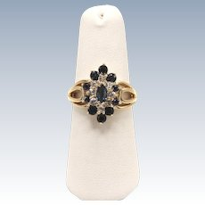 Sweet 14kt Yellow Gold Clear and Blue CZ Cluster Ring - Size 6.5