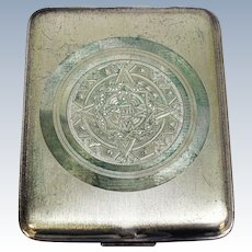 Aztec Sun Calendar Sterling Silver 925 Cigarette Case/Holder - Mexico - 98 Grams