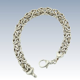 "Sweet Sterling Silver 8"" Byzantine Link Bracelet"