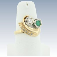 Vintage 14k Yellow Gold Emerald and Diamond Statement Ring - Size 5