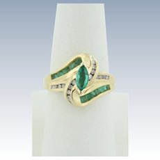 Sweet CRP 10k Yellow Gold Diamond and Emerald Bypass Ring - Size 6.75