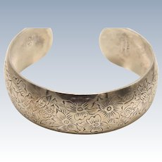 S. Kirk & Son Floral Etched Wide Sterling Silver 925 Bangle