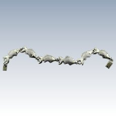 """Mexican Mexico Sterling Silver 925 Fish 7"""" Bracelet - Great Design!!"""