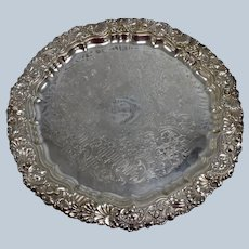 Vintage Williams Adams Silverplate Round Footed Serving Tray