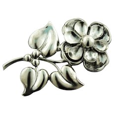 """Vintage - Nicely Detailed Sterling Silver 2 1/2"""" Single Flower Pin"""