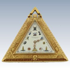 Fine Gold Filled Triangular-Shaped Keyless Lever Masonic Pocket Watch