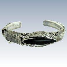 Raymond Gasper Zuni Sterling Silver & Black Onyx Leaf & Floral Cuff Bracelet