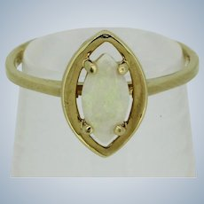 Sweet 14kt Yellow Gold Marquise Opal Ring - Size 4.75