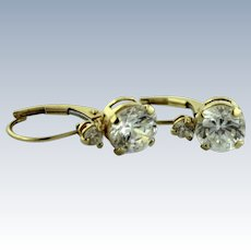 DQ 14K Yellow Gold & Round CZ (2.2ctw) Pierced Drop Earrings-Leverback-Mexico