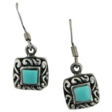 Sweet Sterling Silver Square Turquoise Swirl Dangle Earrings