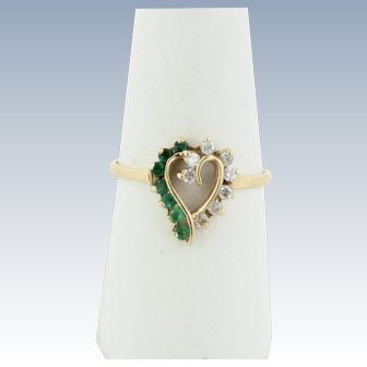 Sweet 14kt Yellow Gold Emerald and Diamond Heart Ring - Size 7