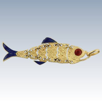 "Detailed 18k Yellow Gold Link Fish 2.7"" Pendant with Enamel"