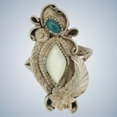 Vintage Native American Sterling MOP/Green Cabochon Stone Flower Ring -Size 6.75