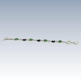 """Sweet Sterling Silver Bear Link Blue & Green Turquoise Bracelet - 8"""""""
