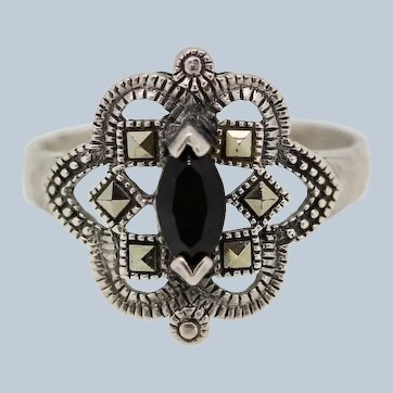 Sterling Silver Marquise Onyx Marcasite Ring - Size 7.75