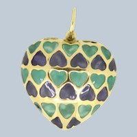 18k Yellow Gold Enamel Puffy Heart Pendant