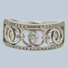 Sterling Silver Openwork Circle Design Diamond Band Ring - Size 7