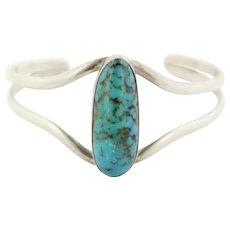 c1efa85bd Vintage Southwestern Sterling Silver Large Oval Turquoise Cuff Bangle  Bracelet