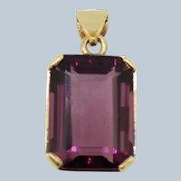 14k Yellow Gold Large Purple Stone Pendant