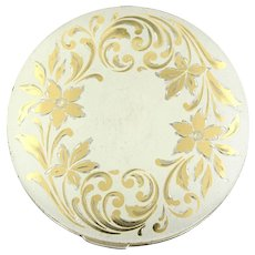 Vintage Sterling Silver Etched Round Compact Mirror