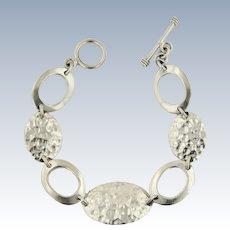"""Modern Sterling Silver Oval Hammered Link Toggle Bracelet - 7.5"""""""